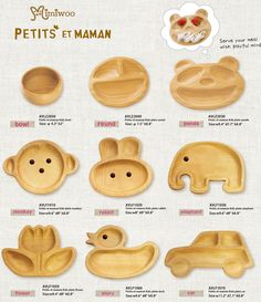 AVLZ2030 Japan Baby Kids Wooden Plate Petits et Maman Panda - Mimi Collection ~ Shop of Ball Joint Doll accessory (Mimiwoo)