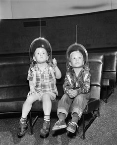 Boys wear space helmets for a 'Trip To The Moon' at the planetarium, Fort Worth, TX, 1955
