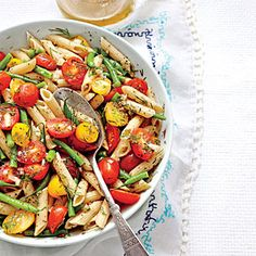 Summer Pasta Salads | Penne with Green Beans and Tomatoes | MyRecipes.com