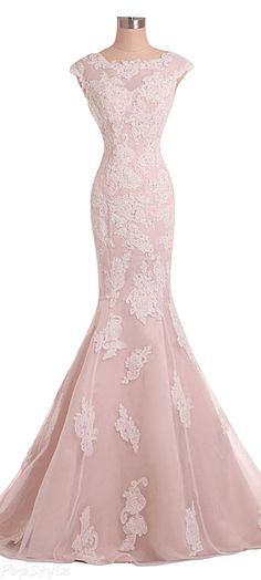 Pink Lace Appliquéd and Beaded Embellished Floor Length Mermaid Evening Gown Featuring Bateau Neckline and Cap Sleeves Bodice