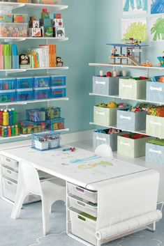 Art Studio Elfa Storage System in Kids Playroom @ Rack Solutions, Kids Room Organization, Organizing Toys, Ideas Hogar, Kid Closet, Playroom Closet, Kids Storage, Toy Storage, Kids Table With Storage