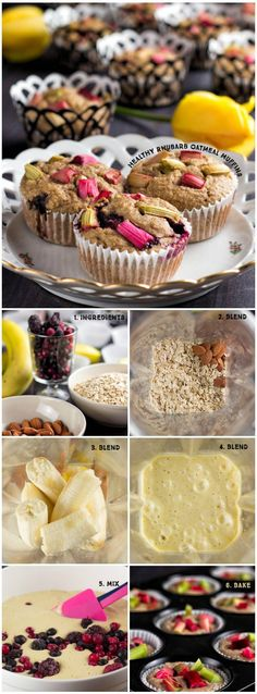 Healthy Rhubarb Oatmeal Muffins are perfect take away breakfast of snack in a hurry. They are refined sugar and gluten free. And what is best one muffin has only 115 calories. So no guilt eating these lovelies.