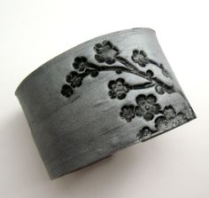 Weekend SALE Silver cuff bracelet Asian floral by theshagbag, $15.95