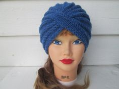 Knit Turban hat hand knitted womens winter hats by Ritaknitsall