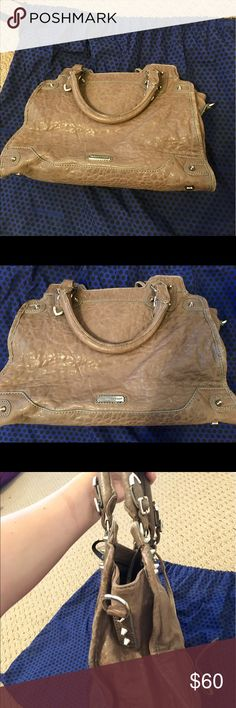 Brown leather Rebecca Minkoff handbag Slight aging on the purse. 100% authentic.  Real leather. Sturdy and reliable. Also comes with shoulder strap and dust bag! Rebecca Minkoff Other