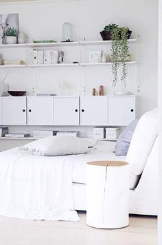 Home Decor – Living Room : string shelf + tree stump Home Decor Inspiration, Home And Living, Interior Design Inspiration, Home, Home Deco, Bedroom Design, White Interior, Home Decor, Living Room Furniture