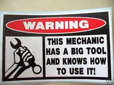 FUNNY MECHANIC TOOL BOX STICKER KNOWS 2 USE BIG TOOL