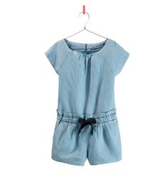 DENIM OVERALL WITH BOW / zara