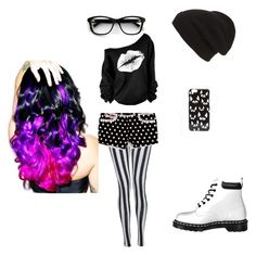 """black and white illusion"" by wild-tiger16 ❤ liked on Polyvore featuring Lipstik, Dr. Martens, Phase 3, ASOS and Leg Avenue"