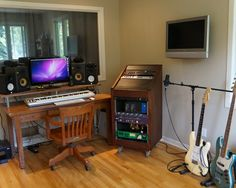 Inspiring Home Recording Studio Design: Home Recording Studio Design Idea With Wood Table And Wooden Floor Also Wide Glass Window ~ dropddesign.com Decorating Inspiration