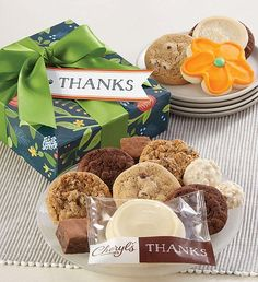 Send a sweet sampling of Cheryl's baked treats to say Thanks! We've included snack size cookies and brownies, a buttercream assortment including a frosted thank you cookie and sweet and salty chocolate pretzel clusters. Thank You Cookies, Box Brownies, Cookie Frosting, Party In A Box, Business Gifts, No Bake Treats, Gluten Free Cookies, Sweet And Salty