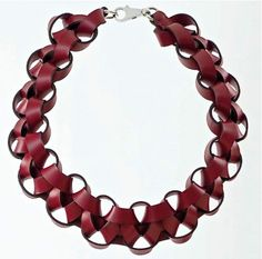 leather necklace from Hermes' petit h - Petit h + Alice COZON = collier fait de chutes en cuir Kelly d'Hermès