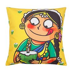 Measuring this cushion cover is a blend of luxurious Polyester in the front, and sturdy Cotton at the back. Cushion Covers Online, Cushion Cover Designs, Indian Illustration, Indian Folk Art, India Art, Indian Art Paintings, Art N Craft, Hand Art, Arte Pop