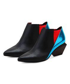 Jady Rose Black & Blue Leather Bootie