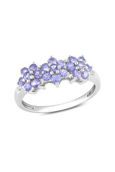 10K White Gold Purple Tanzanite & Diamond Ring
