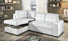 Il nostro divano letto Tigris, in similpelle bianco è dotato di ampi braccioli, morbido schienale e vano contenitore. Chaise Sofa, Couch, Convertible, Smart Furniture, Home Office, Living Room, Home Decor, Sofa Chester, Houses