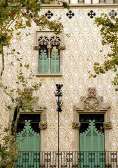 Seafoam green shutters Barcelona, Spain