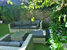 Vasto : salon de jardin en résine tressée 10 places encastrable ...