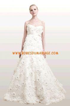 Ann Frances robe sans bretelle ceinture appliques dentelle robe de mariée pas cher