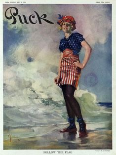 puck, follow the flag. vintage illustration, early 20th century (via www.oddax.com) Vintage Images, Vintage Posters, Vintage Cards, Vintage Prints, Vintage Designs, Vintage Style, Vintage Ladies, Art Deco Mirror, Flag Art