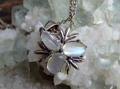 """Gorgeous Triple Rainbow Moonstone and Sterling Pendant with 17"""" Sterling Silver Chain, Signed on Bail and Chain, 6 by 8mm Lively Moonstones by postGingerbread on Etsy"""