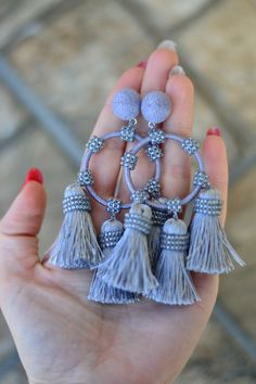 Oscar de la Renta Marine Raffia hoop tassel earrings Navy blue New trend Statement Boho Chic big huge chunky earrings Fringe earrings Tassel Jewelry, Fabric Jewelry, Beaded Jewelry, Tassel Earrings, Jewellery, Cute Earrings, Bridal Earrings, Bridal Jewelry, Handmade Jewelry Designs