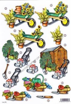 Garden Shed & Tools Die Cut 3D Decoupage Sheet Card Making NO CUTTING • EUR 1,98 - PicClick FR