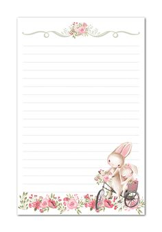 Bunny Rabbits Pink Flowers Printable Stationery Watercolor Paper Best Picture For DIY Stationery ite Diy Stationery Paper, Stationery Pens, Kawaii Stationery, Stationery Business, Notebook Stationery, Korean Stationery, Stationery Store, Notebook Paper, Stationary Printable Free