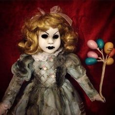 Bastet2329 OOAK Creepy Blonde Happy Birthday girl Doll With Balloons