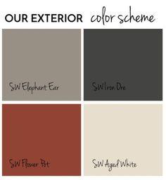 Exterior Paint Final Reveal - Jolly Little Times Exterior color scheme Sherwin Williams SW Iron Ore, Elephant Ear, Flower Pot, Aged White. Shutters, soffits, fascia, trim, front door, aluminum siding. Exterior paint scheme, grey, black, red, offwhite, brick, red roof