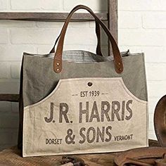 Large Country JR Harris & Sons Farmers Market Tote Grocery Shopping Bag Reusable with small bag x x Features leather drop handles and a fro Market Bag, Large Bags, Large Tote, Canvas Leather, Canvas Tote Bags, Canvas Totes, Tote Handbags, Bag Making, Shopping Bag