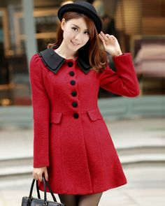 Two Tone Single Breasted Wool Blend Long Sleeve Thigh Length Winter Women Coat