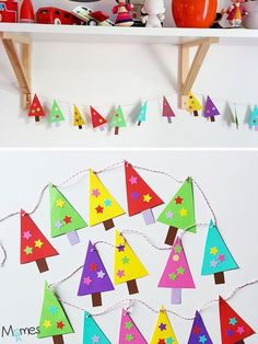 Have ea child make (?) # of trees. Make 1 long garland w/ ea child's art grouped together to decorate classroom. Last day before holiday break cut garland into mini garland w/ ea students own work in their garland piece Christmas Activities, Christmas Crafts For Kids, Christmas Projects, Kids Christmas, Holiday Crafts, Diy Christmas Tree Garland, Diy Garland, Christmas Decorations, Christmas Ornaments