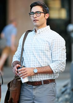 Tyler Hoechlin as Clark Kent on the set of Supergirl