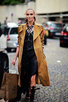 Anja Rubik after Versace Atelier, Paris, July 2014