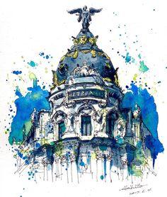 3,570 отметок «Нравится», 87 комментариев — watercolor@horiaki2 (@horiaki2) в Instagram: «スペイン・マドリード・メトロポリスビル -- Metropolis Building , Madrid , Spain #水彩画 #透明水彩 #スケッチ #watercolor…»