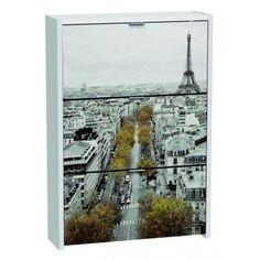 Armario Zapatero de tres Trampones Blanco Paris en material de aglomerado melaminizado con un grosor de tablero laterales y tapa 25mm con un canto 0,4mm de PVC viene decorado con una fotografia de la ciudad de Paris.
