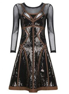 Brown Party Dress - Bqueen Sequins Mesh Long Sleeve $119