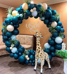 Dinosaur Birthday Party Ideas For 3 Year Old - melissa Balloon Decorations Party, Balloon Garland, Birthday Party Decorations, Baby Shower Decorations, Jungle Theme Birthday, Baby Birthday, 1st Birthday Parties, Dinosaur Birthday, Deco Ballon