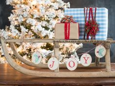 Miss Mustard Seed DIY's wood ornaments for HGTV.  Check out Christmas Tree Markets Alaskan Flocked tree!