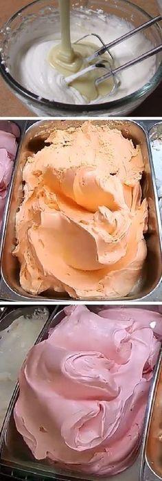 Si te gusta dinos HOLA y dale a Me Gusta MIREN … Köstliche Desserts, Frozen Desserts, Frozen Treats, Delicious Desserts, Dessert Recipes, Yummy Food, Yogurt Ice Cream, Homemade Ice Cream, Ice Cream Recipes