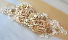 Gold and Antique Ivory Sash Golden Champagne by TheRedMagnolia, $108.00