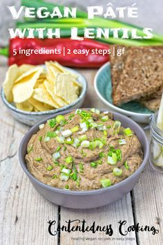Get ready for my Vegan Pate with Lentils. This new easy recipe combines the health benefits of plant-based cooking with the deliciousness of traditional comfort food. With only 5 ingredients and in 2 easy steps you are ready to enjoy! #lentils #snack #lunch #recipe #recipes #vegan #glutenfree