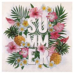 3-ply summer party paper lunch napkins.Fun & summery tropical fiesta themed paper napkins for summer parties, al fresco dining & BBQ's. 33 x 33cm.