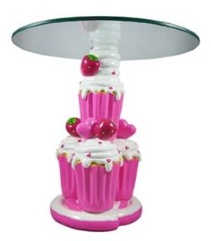 This table is absolute torture because who buys a glass top table for a kids room? I wish it wasn't a glass top. I am in love with it!! Amazon.com: Cute Strawberry Cupcake Child Size Glass Top Table: Furniture & Decor