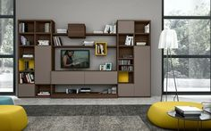 un meuble de tv et étagères murales modernes