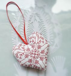 redwork Christmas ornament