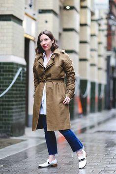 Michelle Duguid, Senior Fashion Editor  Gap jeans, Racil at Avenue 32 shirt, A.L.C coat, Salvatore Ferragamo shoes