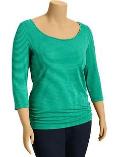 Women's Plus Side-Shirred Scoop-Neck Tees | Old Navy