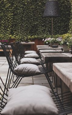 Outdoor chairs with grey pillows - SKT. PETRI